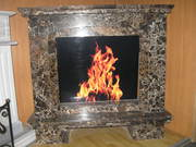 emperador gold_marble fireplace