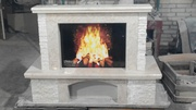 fiore beige_marble fireplace